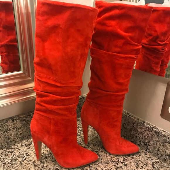 0f40615c376 New Steve Madden Carrie Slouchy Boots Red Suede 7 NWT